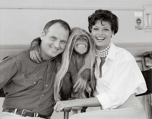 4. Sam McKnight with Linda Evangelista and Jesse the chimp, Los Angeles, 1992. (c) Laspata Decaro